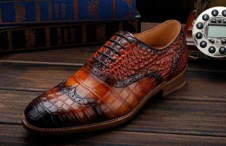 Modern Alligator Skin Lace Up Oxfords Shoes-Lace-Up