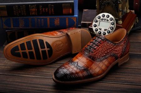 Modern Alligator Skin Lace Up Oxfords Shoes-Sole