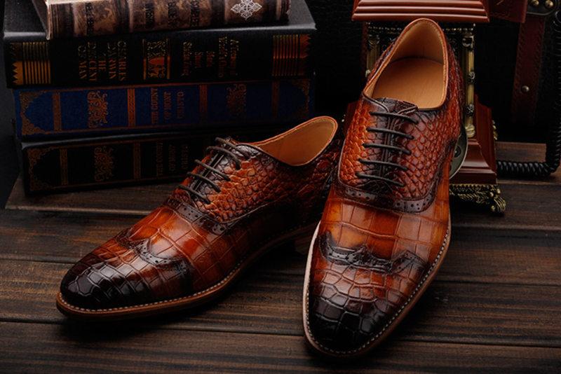Modern Alligator Skin Lace Up Oxfords Shoes-Upper