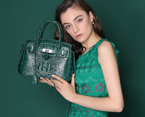 green crocodile bag for women