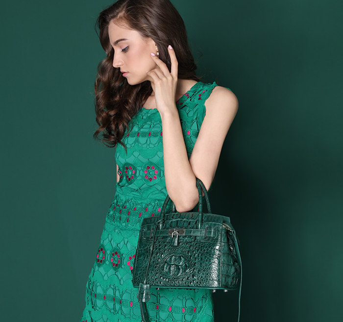 womens green crocodile bag