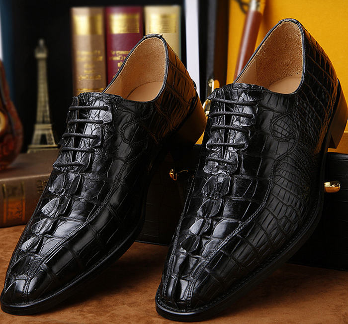 Alligator Dress Shoes Black Color