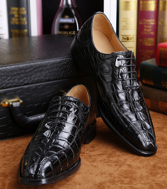 Alligator Shoes Black Color for BRUCEGAO