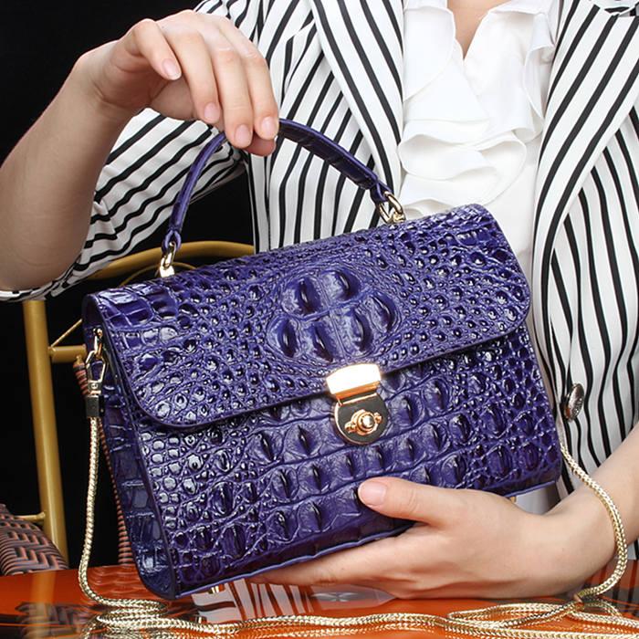 Crocodile Handbag-2018 for BRUCEGAO-Purple