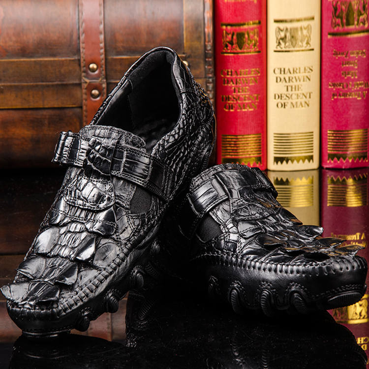 Crocodile Leather Loafers Casual Driving Shoes