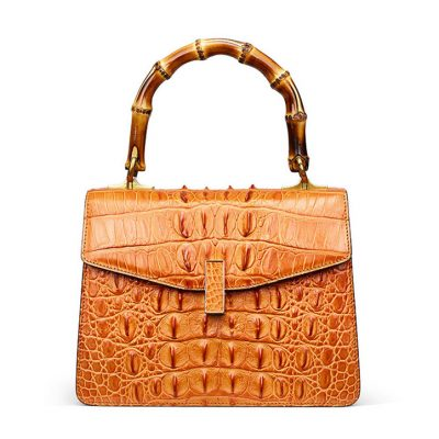 Crocodile Skin Shoulder Bag Crossbody Bag Handbag with Bamboo Handle