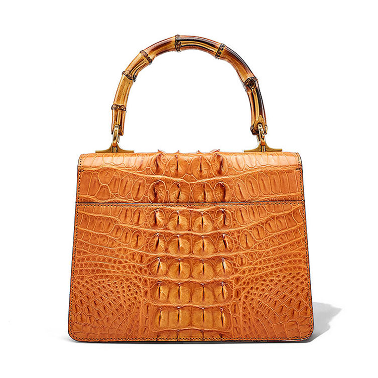 Crocodile Skin Shoulder Bag Crossbody Bag Handbag with Bamboo Handle-Back