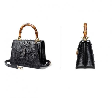 Crocodile Skin Shoulder Bag Crossbody Bag Handbag with Bamboo Handle-Black-Exhibition