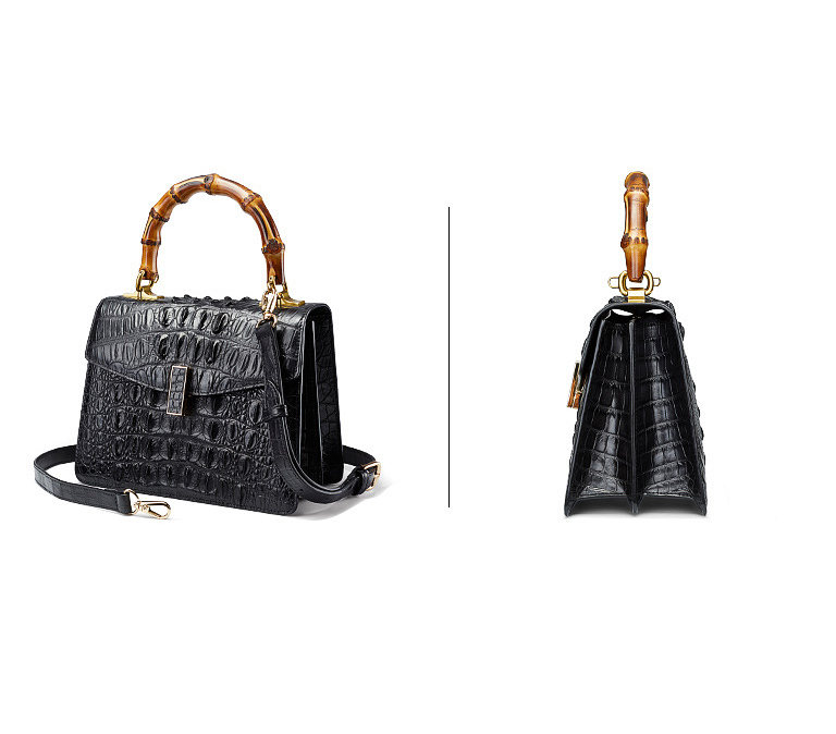 Crocodile Skin Shoulder Bag Crossbody Bag Handbag with Bamboo Handle-Black-Exhibition