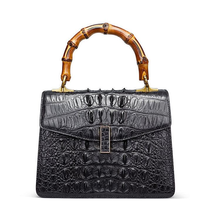Crocodile Skin Shoulder Bag Crossbody Bag Handbag with Bamboo Handle-Black