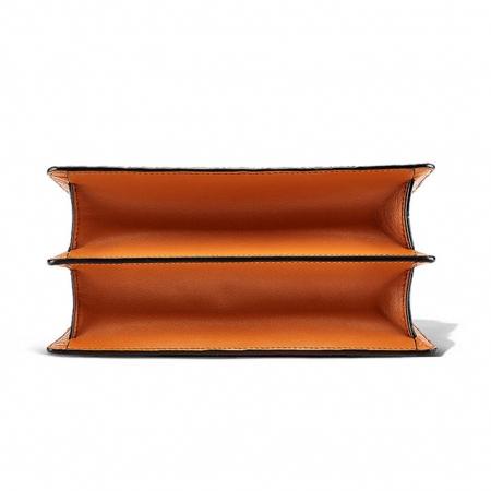 Crocodile Skin Shoulder Bag Crossbody Bag Handbag with Bamboo Handle-Bottom