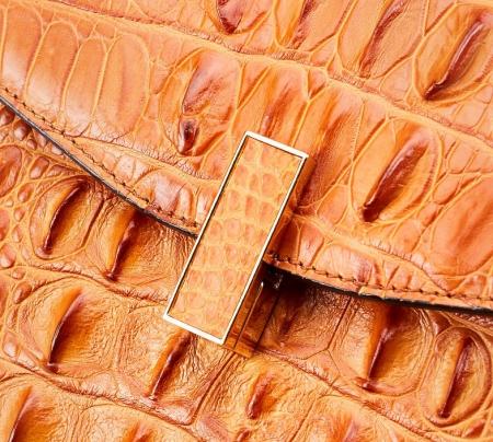 Crocodile Skin Shoulder Bag Crossbody Bag Handbag with Bamboo Handle-Detail