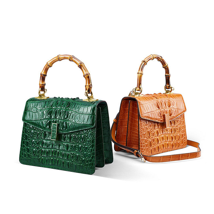 Crocodile Skin Shoulder Bag Crossbody Bag Handbag with Bamboo Handle-Exhibition