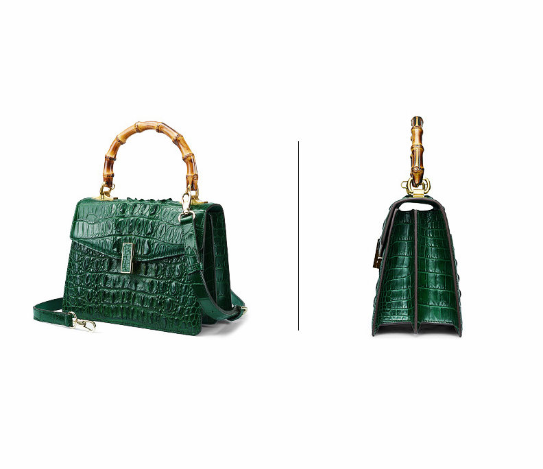 Crocodile Skin Shoulder Bag Crossbody Bag Handbag with Bamboo Handle-Green-Exhibition