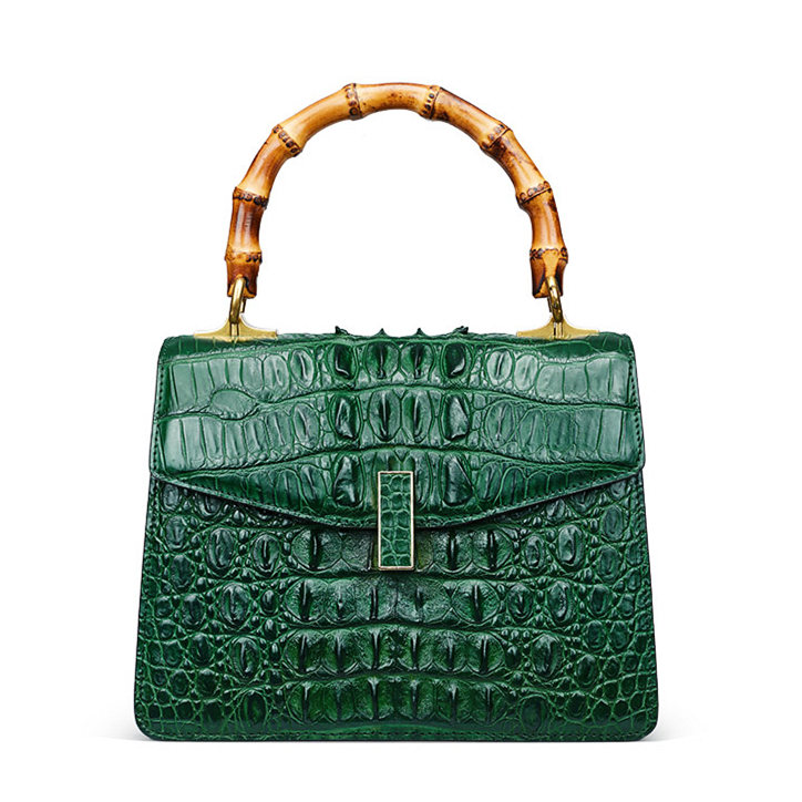 Crocodile Skin Shoulder Bag Crossbody Bag Handbag with Bamboo Handle-Green