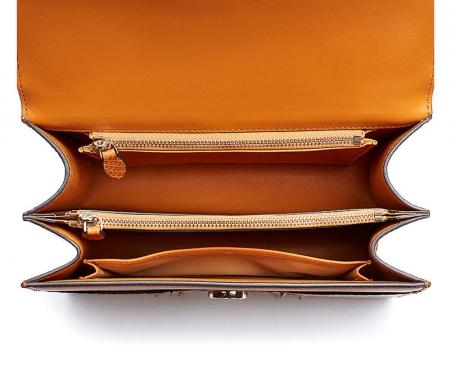 Crocodile Skin Shoulder Bag Crossbody Bag Handbag with Bamboo Handle-Inside
