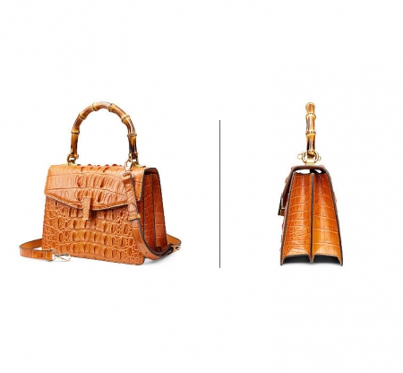 Crocodile Skin Shoulder Bag Crossbody Bag Handbag with Bamboo Handle-Yellow-Exhibition