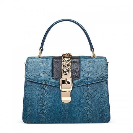 Designer Fashion Sturgeon Leather Handbag for Women-Blue