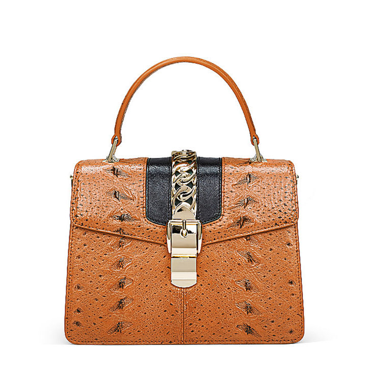 Designer Fashion Sturgeon Leather Handbag for Women-Yellow