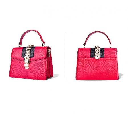 Fashion Designer Lizard Handbag-Red-Exhibition
