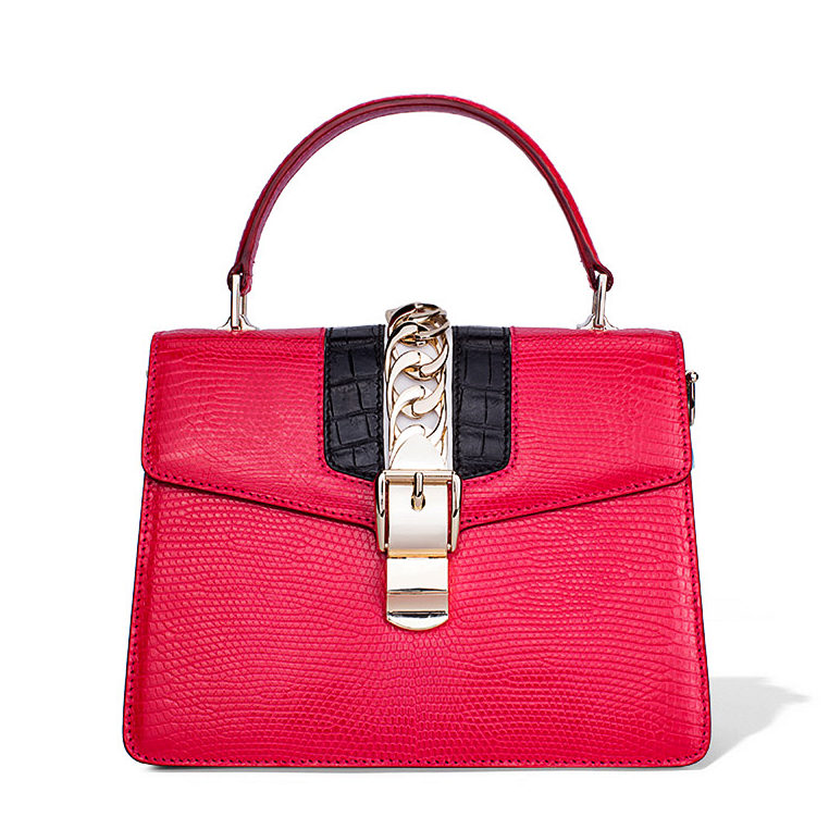 Fashion Designer Lizard Handbag-Red