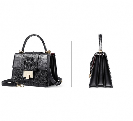 Fashion Genuine Crocodile Skin Crossbody Handbags-Black-Exhibition