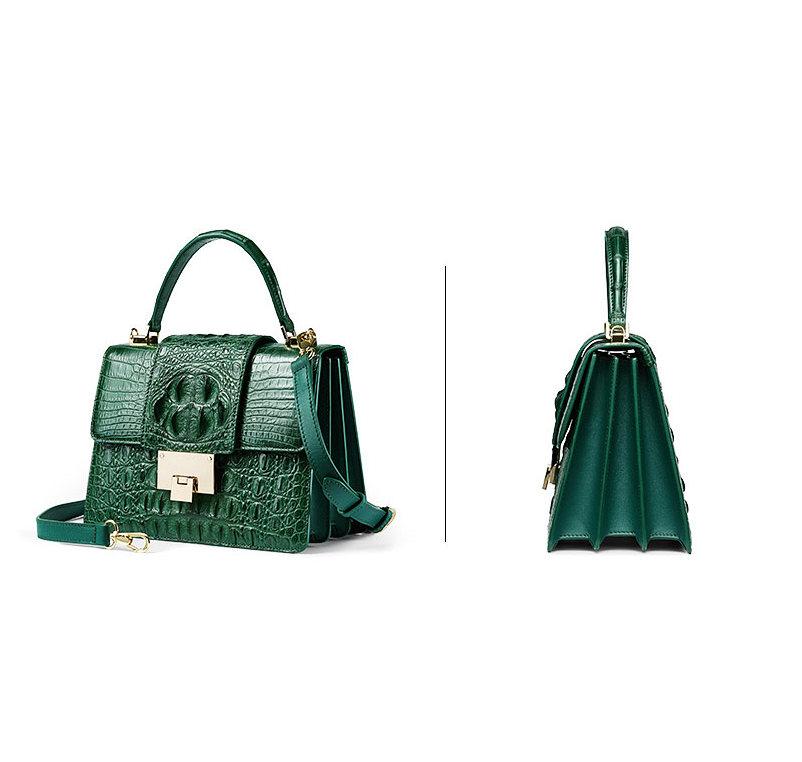 Fashion Genuine Crocodile Skin Crossbody Handbags-Green-Exhibition