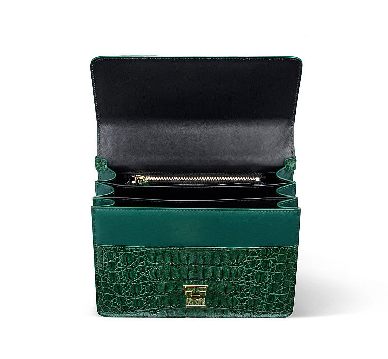 Fashion Genuine Crocodile Skin Crossbody Handbags-Green-Inside