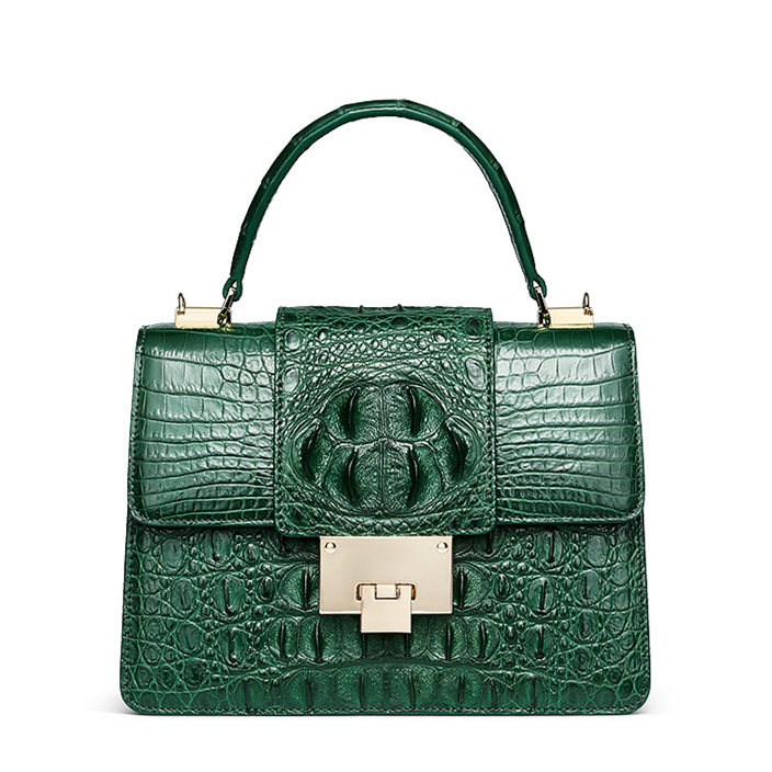 Fashion Genuine Crocodile Skin Crossbody Handbags-Green