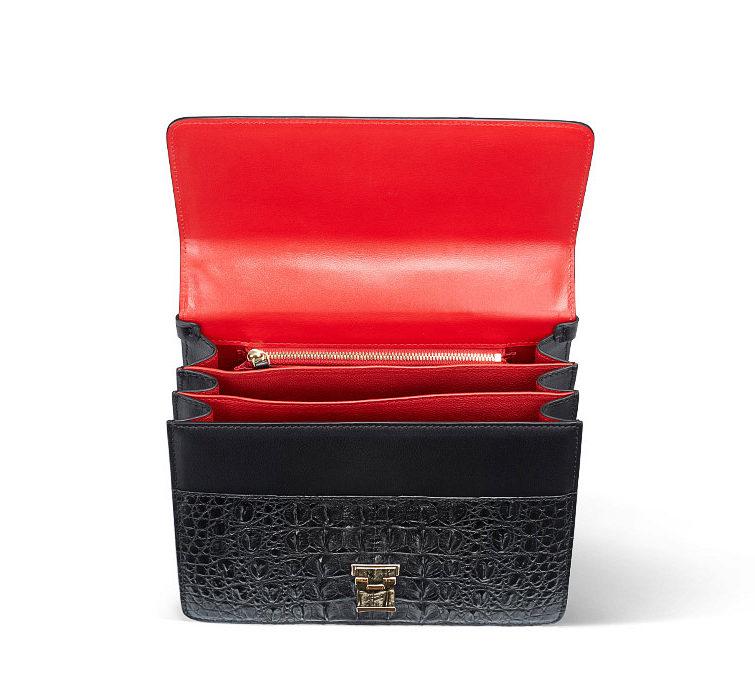 Fashion Genuine Crocodile Skin Crossbody Handbags-Inside