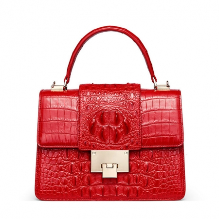 Fashion Genuine Crocodile Skin Crossbody Handbags-Red
