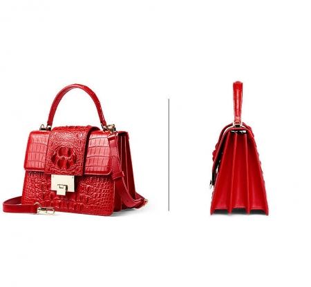 Fashion Genuine Crocodile Skin Crossbody Handbags-Red-Exhibition