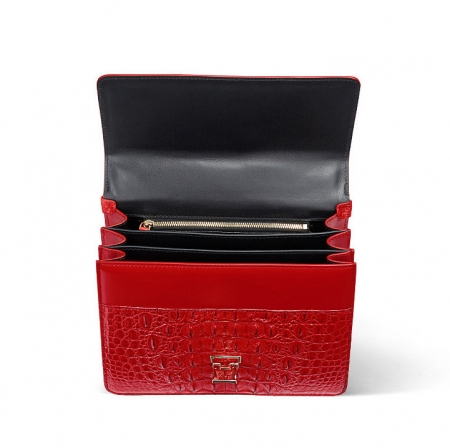 Fashion Genuine Crocodile Skin Crossbody Handbags-Red-Inside