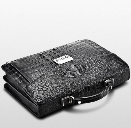 Large Genuine Crocodile Briefcase, Luxury Crocodile Business Bag for Men-1