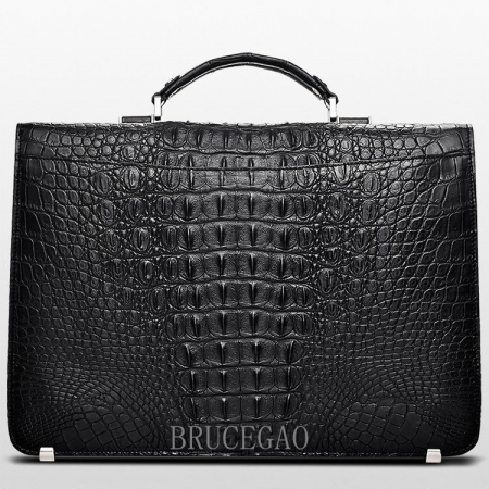 Large Genuine Crocodile Briefcase, Luxury Crocodile Business Bag for Men-Back