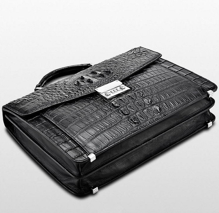 Large Genuine Crocodile Briefcase, Luxury Crocodile Business Bag for Men-Bottom
