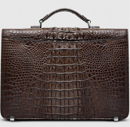 Large Genuine Crocodile Briefcase, Luxury Crocodile Business Bag for Men-Brown-Back
