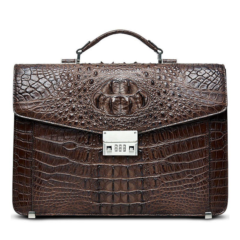 Large Genuine Crocodile Briefcase, Luxury Crocodile Business Bag for Men-Brown