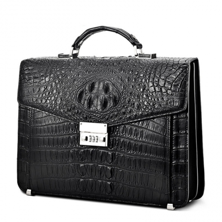 Large Genuine Crocodile Briefcase, Luxury Crocodile Business Bag for Men-Side