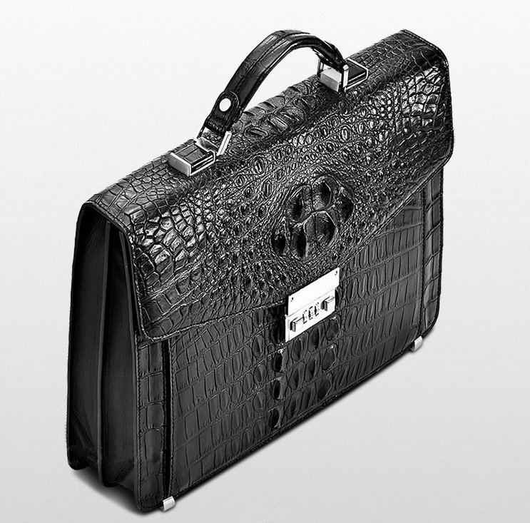 Large Genuine Crocodile Briefcase, Luxury Crocodile Business Bag for Men-Top