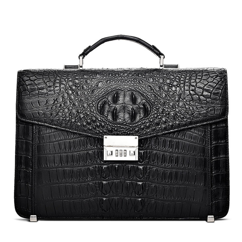 Large Genuine Crocodile Briefcase, Luxury Crocodile Business Bag for Men