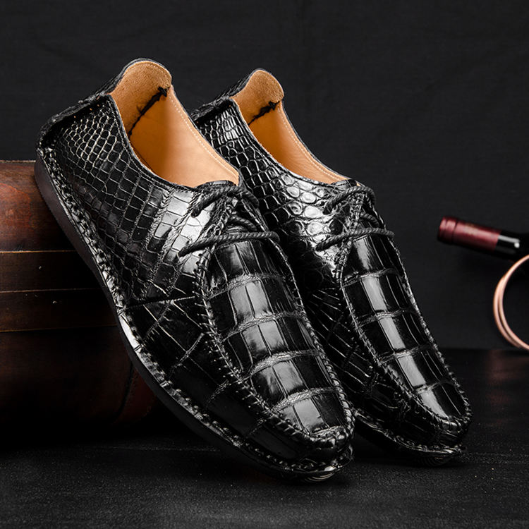 Men's Casual Shoes 2018-Black Alligator Shoes