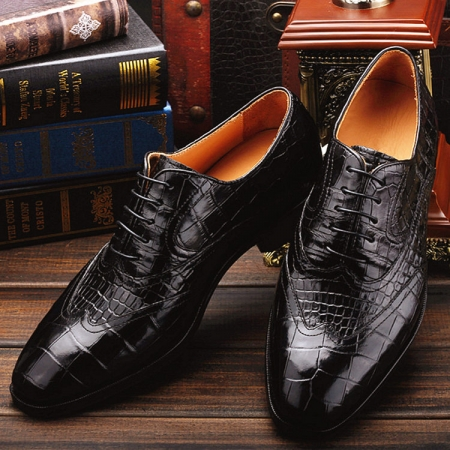 Men's Alligator Classic Modern Oxford Wing-Tip Lace Dress Shoes