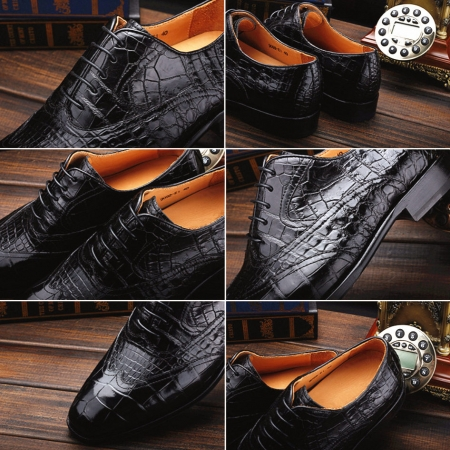 Men's Alligator Classic Modern Oxford Wing-Tip Lace Dress Shoes-Details