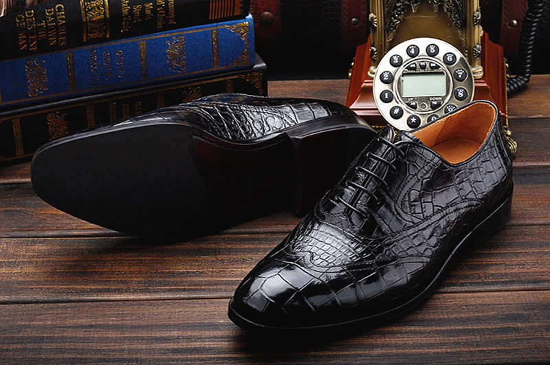 Men's Alligator Classic Modern Oxford Wing-Tip Lace Dress Shoes-Exhibition-1