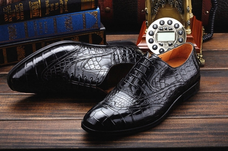 Men's Alligator Classic Modern Oxford Wing-Tip Lace Dress Shoes-Exhibition