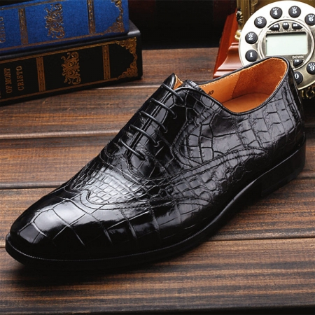 Men's Alligator Classic Modern Oxford Wing-Tip Lace Dress Shoes-Upper