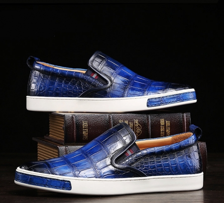 Mens Casual Slip-On Fashion Alligator Sneakers - Blue-Exhibition