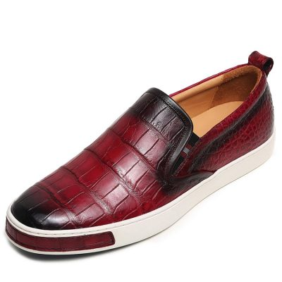 Mens Casual Slip-On Fashion Alligator Sneakers - Wine Red