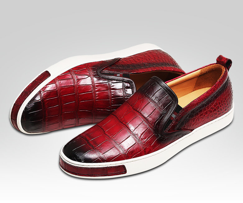 Mens Casual Slip-On Fashion Alligator Sneakers - Wine Red-Details